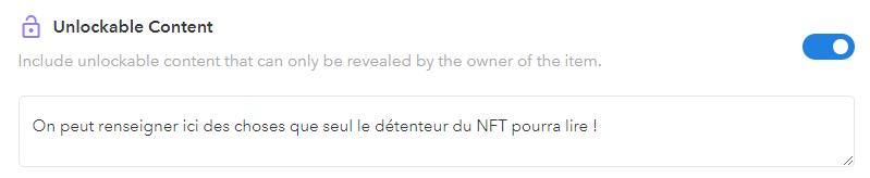 Contenu Déverrouillable NFT